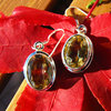 Indian Citrine Earrings Jewelry in smooth Silver Setting