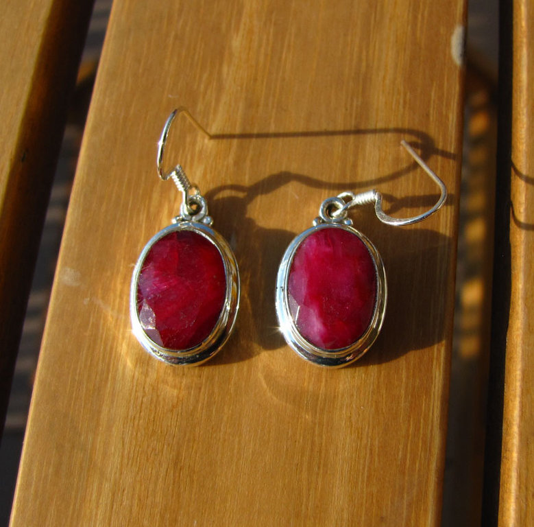 Indian Earrings 925 Silver Jewelry with Ruby - 'Delhi/23'