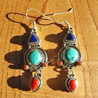 Indian Earrings Ethnic Jewelry Silver-  Lapis, Turquoise, Coral