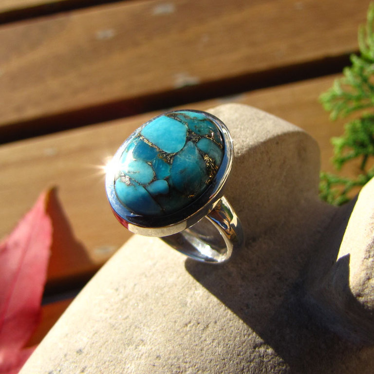 Indian Rings Jewelry 925 Silver Sea Jasper blue 15-1 V-2