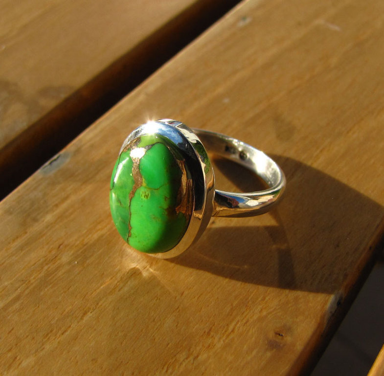 Indian Ring Sea Jasper Variscite green - 925 Silver Jewelry