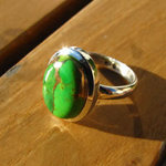 Indian Jewelry Silver Ring Sea Jasper Variscite green /15-3