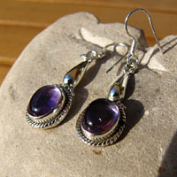 Indian Earrings with Amethyst - elegant Silver Ornament