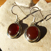 Indian Carnelian Earrings Jewelry - delicate Silver Rim