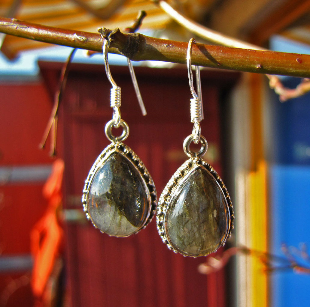 Indian 925 Silver Earrings Jewelry with Labradorite 15-1