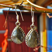 Labradorite Earrings finely ornated - Indian Silver Jewelry