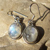 Moonstone Earrings finely decorated - Indian Silver Jewelry