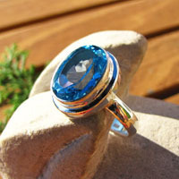 Attractive Ring with Blue Topaz - Indian 925 Silver Jewelry