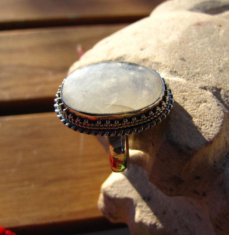 Indiaan Jewelry 925 Silver Ring with Moonstone /26-1