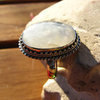 Moonstone Ring oval dainty ornated - Indian Silver Jewelry