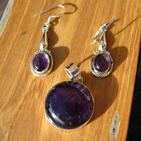 Amethyst Jewelry Set Pendant and Earrings 925 Silver