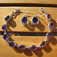Amethyst Earrings and Pendant - offer Jewelry Set Silver