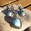 Indian Larimar Silver Jewelry Set - Pendant, Earrings /15-7