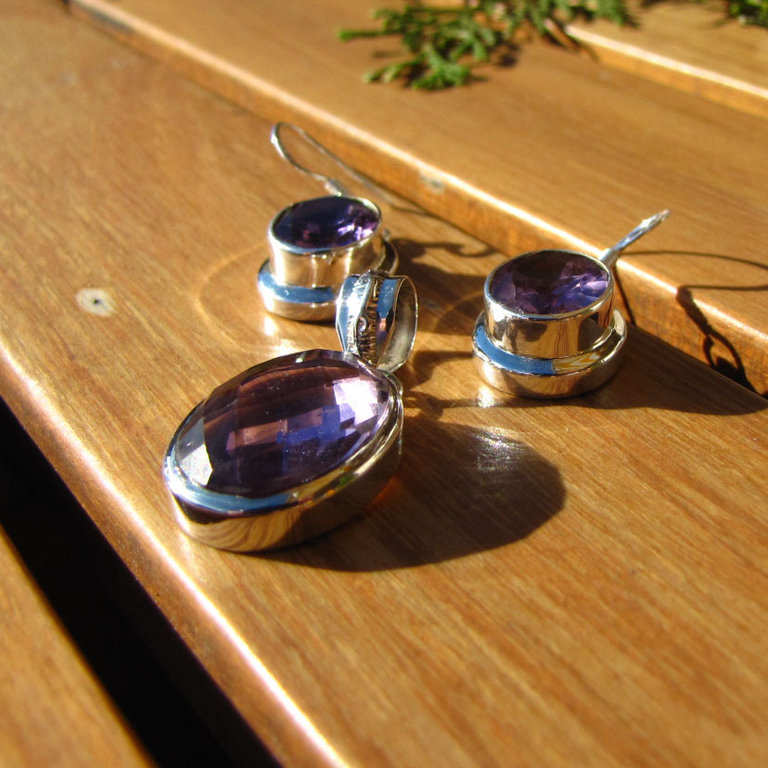 Amethyst Earrings and Pendant - Jewelry Set 925 Silver