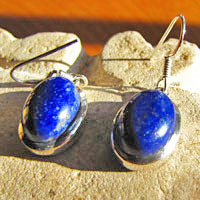 Earrings with Lapis Lazuli deep blue - Indian Silver Jewelry