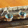 Indian Silver Earrings Jewelry with Blue Topaz 16/2