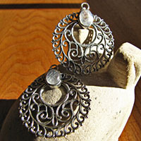 Indian Earrings Jewelry Moonstone - in decorative Silver Braid