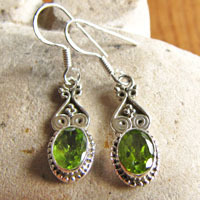 Peridot Earrings Jewelry - Indian Ethnic Style 925 Silver