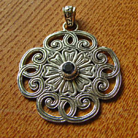 Ethnic Amulet Pendant with Blue Sapphire - Silver Jewelry