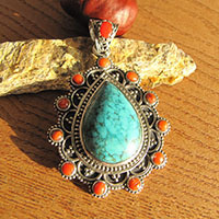 Magnificent Pendant Turquoise and Coral - Ethnic Style 925 Silver