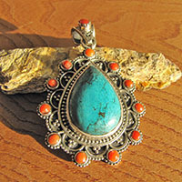 Indian 925 Silver Pendant Ethnic Jewelry Turquoise - Red Coral