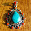 Pendant Turquoise and Coral - Ethnic Style Silver