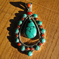 Unique Design - 925 Silver Ethnic Pendant Turquoise and Coral