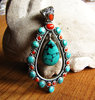 Large silver pendant in Ethnic style Turquois and Red Coral