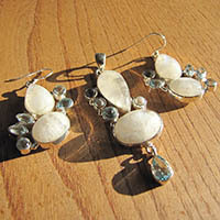 Indian Silver Jewelry Set - Moonstone with Blue Topaz 16/1