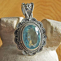 Indian Blue Topaz 925 Silver Jewelry Pendant ornated - design B