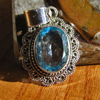 Indian Blue Topaz 925 Silver Jewelry Pendant ornated - design A