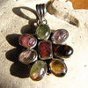 Indian Tourmaline Pendant in Shape of a Flower Silver