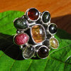 Premium Indian Silver Ring with Tourmaline in Flower Shape