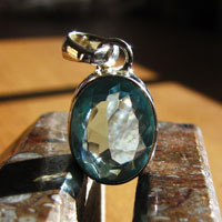 Elegant Blue Topaz Pendant - Indian Silver Jewelry