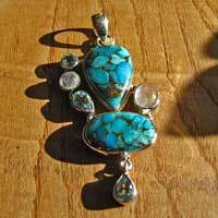 Silver Pendant with Sea Jasper, Blue Topaz and Moonstone 17-2