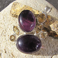 Design Pendant Amethyst with Citrine - Statement Jewelry