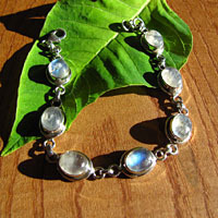 Indian silver bracelet jewelery with moonstone