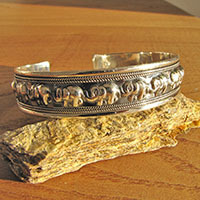 Bangle 925 Silver Indian Jewelry - Relief with Elephants