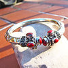 Bangle with Red Coral - Indian 925 Silver Jewelry