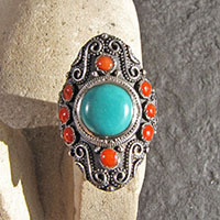 Magnificent Indian Ethnic 925 Silver Ring - Turquoise and Coral