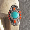 Magnificent Indian Ethnic Silver Ring - Turquoise and Coral