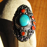 Magnificent Indian Ethnic Ring Turquoise Coral in 925 Silver 16-1-1