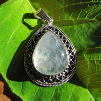 Indian Jewelry Pendant Moonston striking Silver Adornment
