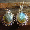Indian Silver Earrings - oval Labradorite radial adornment