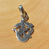OM Sign - small Ethnic Jewelry Silver Pendant from India