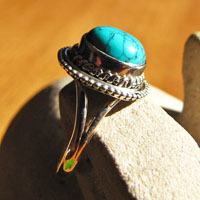 Turquoise Ring noble 925 Silver Ornament - Indian Ethnic Jewelry