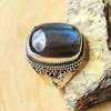 Indian Labradorite Ring rectangular - Silver Jewelry