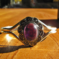 Indian Silver Bangle with Amethyst  - 'Madras/56'