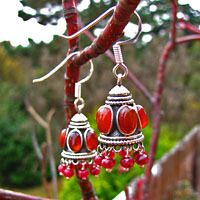 Indian earrings silver jewelry ethno with carnelian and ruby