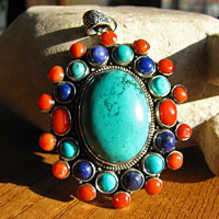 Large Silver Pendant Ethnic Jewelry Turquoise Coral Lapis